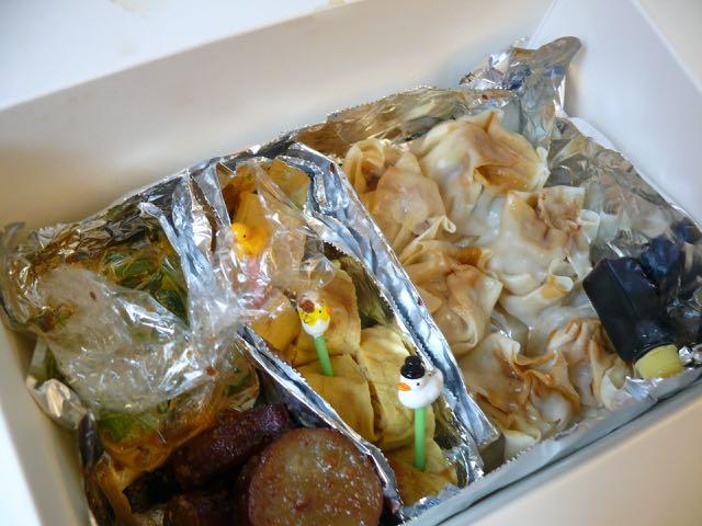 シウマイ、卵焼き、芋の甘煮、小松菜の胡麻和え.jpg